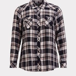 Torrid Plaid Challis Camp Shirt
